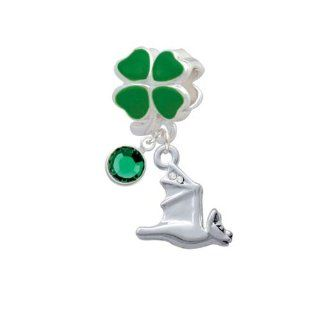 Lucky 3 D Flying Bat with Crystals Green Four Leaf Clover Charm Bead with Emerald Crystal Drop Delight Jewelry Jewelry