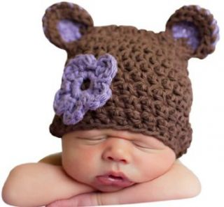 Melondipity Girl Sugar Plum Bear Crochet Baby Hat   Brown Beanie Purple Flower Infant And Toddler Hats Clothing