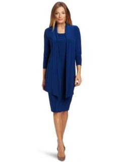 Jones New York Women's Matte Jersey Mock Jacket Dress, Blue, 4