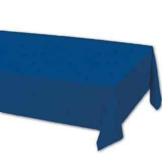 Creative Converting 71 0242B 108 Inch Length by 54 Inch Width Navy Blue Color Plastic Lined Table Cover (Case of 24)
