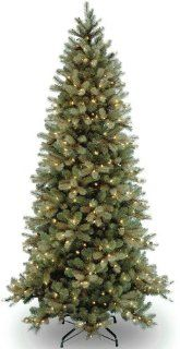 "National Tree (PEDD1 323 75) ""Feel Real"" Downswept Douglas Slim Fir Hinged Tree with 600 Clear Lights, 7 1/2 Feet   Christmas Trees"