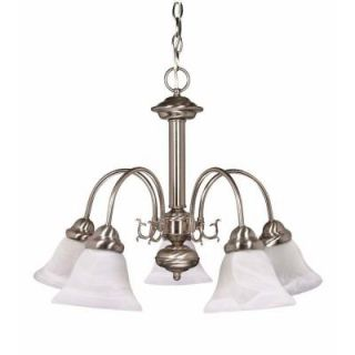 Glomar Ballerina 5 Light Brushed Nickel Chandelier with Alabaster Glass Bell Shades HD 181