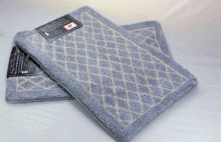 "Diamond Gray 2 Piece Set Memory Foam Bath Room Mat, rectangle 32""x 20"" Non slip Back Rug"