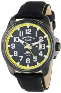 Tommy Bahama RELAX Men's RLX1215 Beach Cruiser Black Dial Yellow Dial Ring Canvas Strap Watch Watches