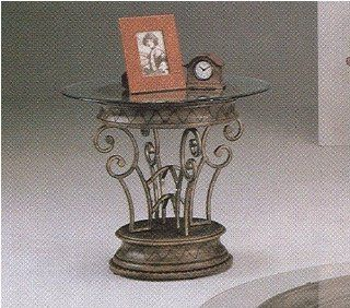 Neo Roman Wrought Iron Round Glass Top Table with an Antique Pewter Finish   End Tables