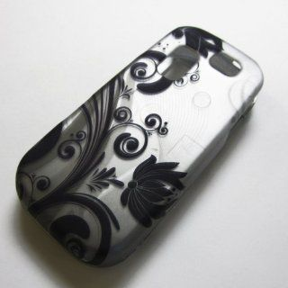 RUBBERIZED HARD PHONE CASES COVERS SKINS SNAP ON FACEPLATE PROTECTOR FOR SAMSUNG SGH T404G STRAIGHT TALK NET10 TRACFONE  OR GRAVITY 2 II SGH T469 T.MOBILE Slide / BLACK VINE ON SILVER (WHOLESALE PRICE) Cell Phones & Accessories