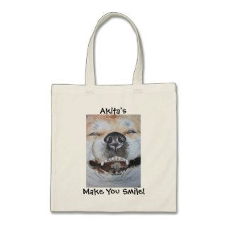 Funny cute akita smile realist dog portrait art canvas bags