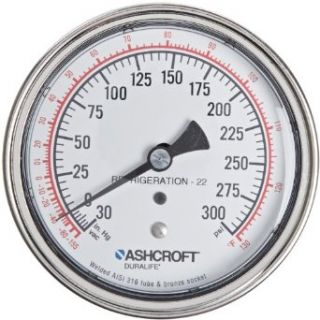 "Ashcroft Duralife Type 1009 Stainless Steel Case Glycerin Filled Pressure Gauge, Stainless Steel Tube and Socket, 3.5"" Dial Size, 1/4"" NPT Lower Connection, 0/160 psi Pressure Range Industrial Pressure Gauges"