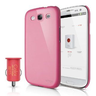 elago G5 Slim Fit Case for Galaxy S3 (Fits Verizon, AT&T, T Mobile, Sprint and other Carriers)   Glossy Hot Pink + COLOR USB Car Charger   Red   ECO PACK Cell Phones & Accessories