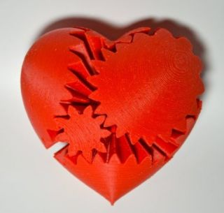 3D Printed Rotating Heart Gear, Large, Red Emmett Lalish 3D Printing