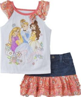 Disney Princess Toddler Girl's Shirt & Denim Skort Set (2T) Clothing