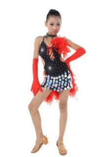 Colorfulworldstore Child Girls/Ladies Latin dance dress Over all dress in 3 sets with feather Blue/Red/Black (XXL/135CM High, Black) Clothing