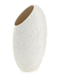 Charade Flower Embossed Slice Vase, White