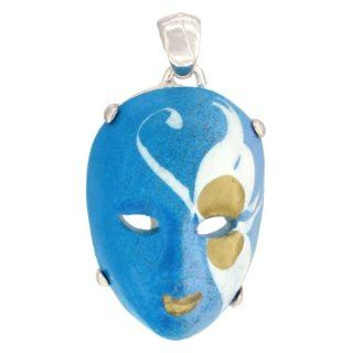 Sterling Silver Venetian Carnival Mask Pendant Hand Painted Ceramic Blue White Italy 1 1/8 inch Jewelry