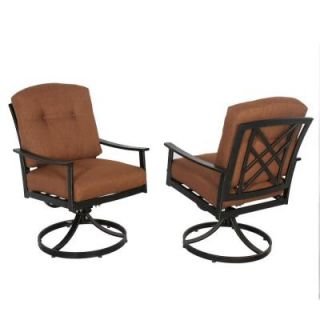 Hampton Bay Cedarvale Swivel Patio Dining Chair with Nutmeg Cushion (2 Pack) 133 008 SR2
