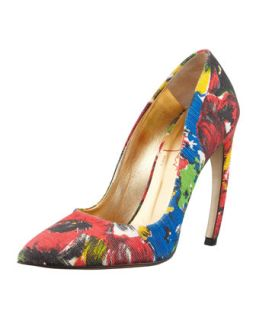 Womens Floral Pointed Toe Bowed Heel Pump   Walter Steiger