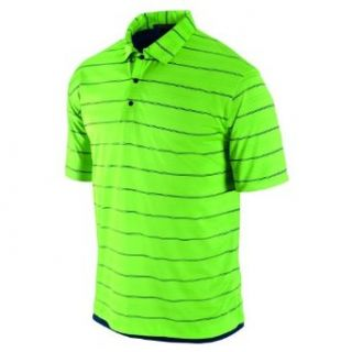 NIKE Men's Tiger Woods Platinum Collection Dri FIT 2 Layer Stripe Golf Polo Shirt, Sprinter Green/Dark Obsidian, Small  Golf Apparel  Sports & Outdoors