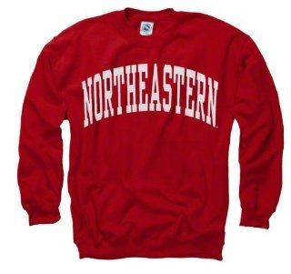 Northeastern Huskies Red Arch Crewneck Sweatshirt  Sports Fan Sweatshirts  Sports & Outdoors