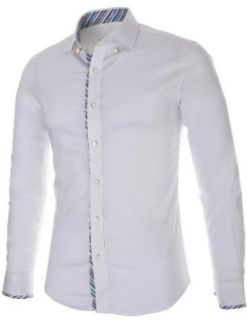 FLATSEVEN Mens Slim Fit Stretch Fabric Casual Dress Shirts (SH431) White, XL at  Men�s Clothing store Button Down Shirts