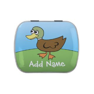 Cute Cartoon Duck with Area for Name Candy Tin