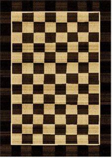 Home Dynamix Royalty Hd600w 457 5 Feet 2 Inch by 7 Feet 2 Inch Area Rug, Black/Ivory   Checkered Area Rug
