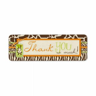 Safari Monkey Animal Print Baby Shower Labels