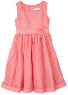 Rare Editions  Girls 7 16 Mesh Dotted Dress,Coral,12 Clothing