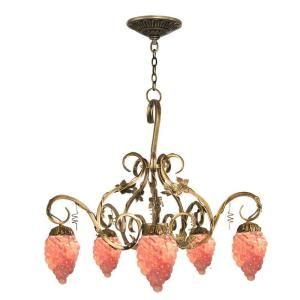 Dale Tiffany Albany 5 Light Hanging Antique Brass Chandelier STH11078
