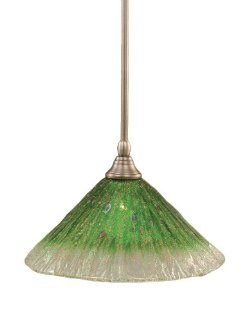 Toltec Lighting 23 BN 447 Stem Mini Pendant Light Brushed Nickel Finish with Kiwi Green Crystal Glass, 12 Inch   Ceiling Pendant Fixtures