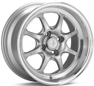 15x8 Enkei J SPEED (Silver w/ Machined Lip) Wheels/Rims 4x100 (464 580 4925SP) Automotive