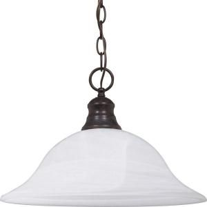 Glomar 1 Light Pendant Alabaster Glass Old Bronze HD 391