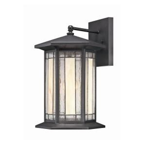 Hampton Bay Woodbridge Collection 1 Light Large Black Faux Tiffany Wall Sconce 21219 030