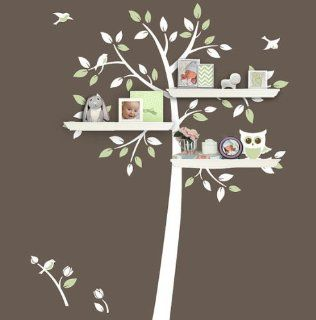 Shelf Shelves Shelving Tree Cute Owl Bird Flower Home Art Decals Wall Sticker Vinyl Wall Decal Stickers Living Room Bed Baby Room78   Other Products