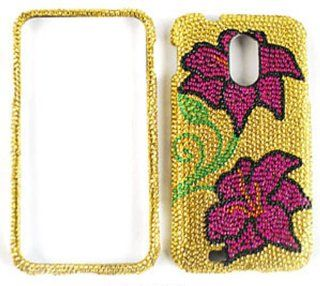 SAMSUNG GALAXY SII EPIC 4G TOUCH D710 2 PINK FLOWERS ON GOLD BLING CASE ACCESSORY SNAP ON PROTECTOR ACCESSORY Cell Phones & Accessories