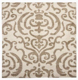 Safavieh Florida Shag Collection SG462 1113 Cream and Beige Shag Square Area Rug, 6 Feet 7 Inch Square
