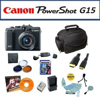 Ultimate Package Featuring The Canon PowerShot G15 Digital Camera, 3 Piece HD Filter Kit, 16Gb High Speed Memory Card, Extra Battery Pack + 1 Hour AC/DC Battery Charger And More  Point And Shoot Digital Camera Bundles  Camera & Photo
