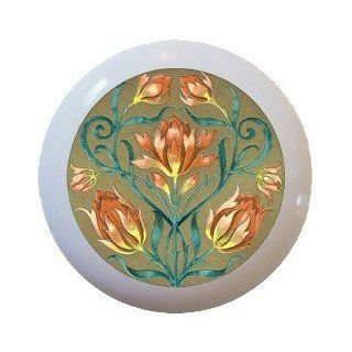 Lotus Flower Ceramic Knobs Pulls Kitchen Drawer Cabinet Vanity Closet 481   Cabinet And Furniture Knobs