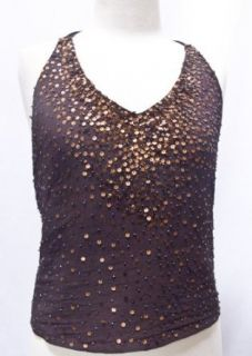 Sequin Silk Chiffon Halter Top Style Tank Camisole Chocolate Brown Bronze Small