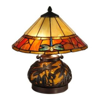 Dale Tiffany 16.75 in. Genoa Dark Antique Bronze Table Lamp with Night Light TT13092