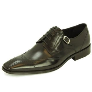 Natazzi Mens Leather Shoe Lace Up Wingtip Oxford Mod Pisa L 3030 Black Shoes