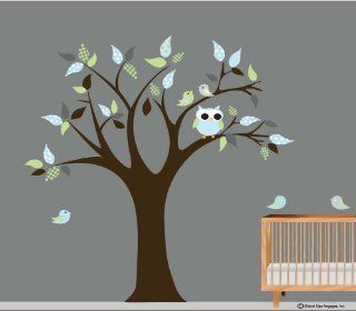 Roommates Nursery Tree With birds light Blue Leaves and Dark Gray wall Decal wall Art  Wall Decals wall Decor vinyl Wall Lettering  Home & Kitchen Decor   Prints