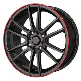 "Akita Racing AK 77 477 Black with Red Ring Wheel (16x7""/8x114.3mm) Automotive"