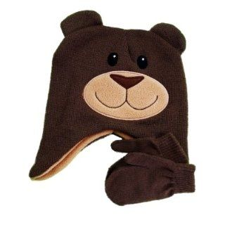 Critter Collection Infant & Toddler Boys Brown Bear Winter Hat & Mittens Set Clothing