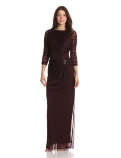 Adrianna Papell Women's Draped Gown with Brooches, Raisin, 4 Dresses