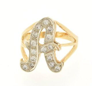 "14k Yellow Gold Diamond Initial ""A"" Ring Jewelry"