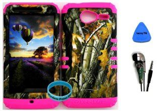 Premium Hybrid 2 in 1 Case Cover Kickstand Dry Oak on Branches Camo Mossy Hunter Series Snap On + Pink Silicone for Motorola XT 901 Motorola electrify M Cell Phones & Accessories