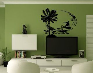 Surfer Surfing Board Palm Tree Wall Mural Vinyl Sticker Decal AL541   Wall Decor Stickers