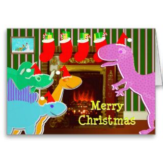 Cute Cartoon Dinosaurs Fireplace Christmas Card