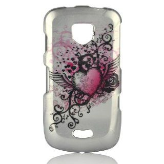 Talon Phone Case for Samsung i520 4G LTE   Grunge Heart   Verizon   1 Pack   Case   Retail Packaging   Hot Pink/Silver Cell Phones & Accessories