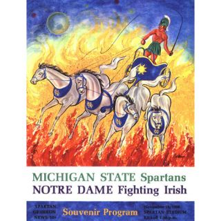 NCAA - 1966 Michigan State Spartans vs Notre Dame Fighting Irish 36x48 Canvas Historic Football Program